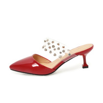 Arden Furtado 2018 new style shoes woman small size 32 33 fashion rivets slip on red silver spike heels mules ladies slippers