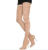 2018 spring autumn over the knee high heels 10cm stilettos grey nude boots super big size 45-48 small size 33
