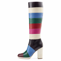 Arden Furtado 2018 spring autumn winter Women zipper boots Lady shoes fashionable knee high rainbow boots chunky heels 8cm 44 45