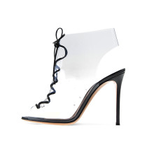 Arden Furtado 2018 summer sexy high heels 11cm fashion shoes for woman pvc clear fashion sandals pink party shoes big size 43