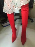 new style Stretch boots green flowers pink nude grey red yellow over the knee boots stilettos heels large size