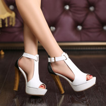 summer chunky heels platform genuine leather  white sandals