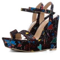 2019 summer wedges platform buckle strap high heels shoes