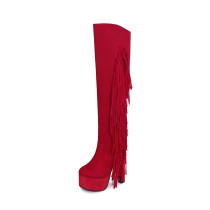 2018 winter platform high heels 15cm fashion knee high boots shoes for woman ladies fur boots big size small size store