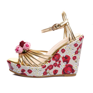 Summer women's shoes platform shoes buckle strap women's flowers sandals