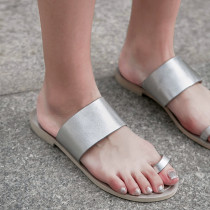Arden Furtado 2018 summer genuine leather casual new shoes for woman gladiator silver slippers flip-flops slides ladies sandals
