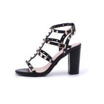 Arden Furtado NEW summer high heels 10cm genuine leather buckle T- strap rivets gladiator fashion pink sandals block heels