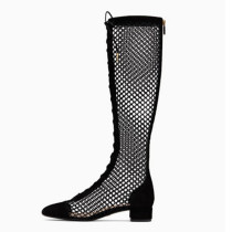 Arden Furtado spring summer knee high boots square heels gladiator fashion casual ankle boots fretwork sandals 48