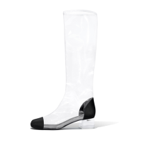 Arden Furtado 2018 spring summer square heels 4cm pvc clear knee high boots big size 40-48 zipper shoes for woman Rain boots Crystal heels midcaft boots