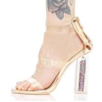 Arden Furtado 2018 summer high heels 10cm fashion pvc clear crytal chunky heels bling bling sandals big size woman shoes from china