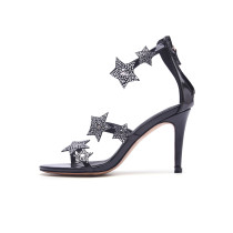 Arden Furtado 2018 summer high heels stilettos crystal star cover heels genuine leather buckle strap fashion sandals shoes woman