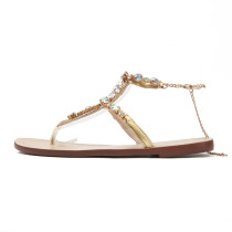 2018 summer flat crystal flowers gladiator sandals flip-flops rhinestone shoes ladies big size