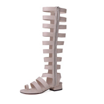 Arden Furtado 2018 summer boots square heels gladiator zipper genuine leather fashion casual sandals shoes for woman size 33 40