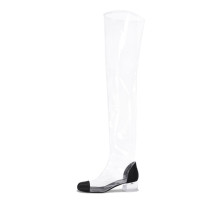 Arden Furtado 2018 summer boots over the knee pvc clear crystal square heels 4cm rain boots big size 40-48 round toe sandals new