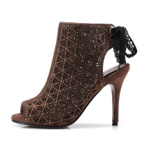 Arden Furtado 2018 summer boots high heels 9cm stilettos peep toe small size 32 33 fretwork lace up fashion sexy sandals shoes