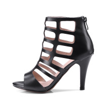 Arden Furtado 2018 summer high heels 9cm genuine leather peep toe small size 32 gladiator zipper fashion sandals casual