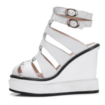 Arden Furtado 2018 summer high heels 11cm wedges platform genuine leather round toe gladiator casual sandals shoes for woman new