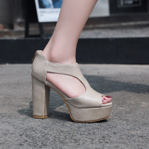 summer platform chunky heels peep toe evening party shoes ladies sandals small size 32 33 high heels 11cm