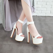 Arden Furtado summer high heels 16cm ankle strap platform red white fashion sandals shoes for woman night club party shoes