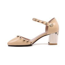 Arden Furtado  summer high heels 6cm big size 40-45 small size 30-33 genuine leather sandals buckle strap square toe shoes