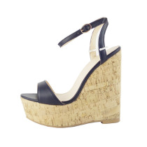 summer Black Cork Wedges Open Toe Wide Width Heels Ankle Strap Sandals woman buckle strap wedges platform peep toe high heels 12cm fashion big size