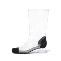 Arden Furtado 2018 spring summer square heels 4cm pvc clear ankle boots big size 40-48 zipper shoes for woman Rain boots