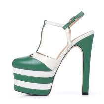 Arden Furtado summer fashion style woman shoes women T-strap chunky heels high heels 15cm platform genuine leather platform sandals new