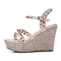 Arden Furtado summer buckle strap rivets genuine leather platform wedges high heels 10cm casual sandals shoes for woman new