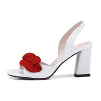 Arden Furtado summer high heels 8cm red leaves white sandals genuine leather fashion peep toe shoes for woman ladies