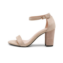 Women's brown black nude Open toe chunky Heels Ankle Strap cover heels genuine suede Sandals small size 33