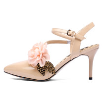 Arden Furtado 2018 summer new high heels 8cm sexy red nude flowers buckle strap fashion sandals shoes for woman wedding shoes