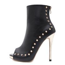 2018 summer high heels 12cm peep toe rivets stilettos ankle boots summer boots