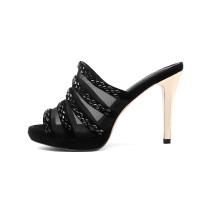 Arden Furtado  summer high heels 10cm platform peep toe fashion slides clear mesh sexy platform rhinestonestilettos slippers