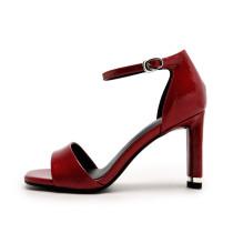 Arden Furtado 2019 summer high heels 8cm cover chunky heels ankle strap genuine leather elegant fashion white burgundy sandals ladies