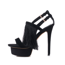 Arden Furtado 2018 summer fashio high heels 15cm stilettos party shoes sexy platform tassels small size 33 genuine suede sandals