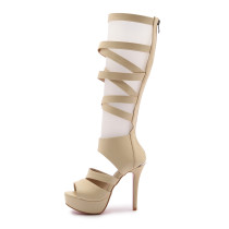 Summer high heels platform casual gladiator white beige black peep toe sandals shoes for woman summer boots