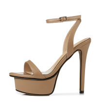 Arden Furtado summer extreme high heels 13cm stilettos ankle strap genuine leather platform sandals shoes for woman ladies
