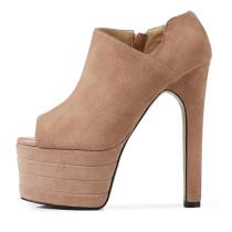Arden Furtado spring summer extreme high heels 16cm genuine leather peep toe platform zipper pumps night club shoes ladies