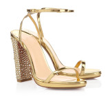 summer high heels 11cm chunky heels crystal rhinestone fashion sandals shoes for woman big size ankle strap gold heels