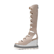 Arden Furtado 2018 summer gladiator casual sandals woman shoes genuine leather wedges fashion platform knee high boots size 32