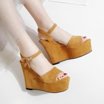 2018 summer high heels 13cm wedges platform buckle strap sandals small size 32 33 casual shoes woman