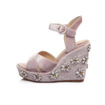 Arden Furtado summer high heels 13CM wedges platform peep toe crystal flowers buckle strap sandals shoes for woman size 40