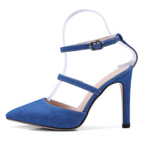 Arden Furtado 2018 summer high heels 10cm stilettos pointed toe blue jeans red ankle strap sexy high heels elegant sandals new