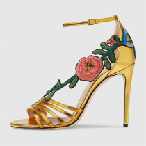2018 new arrival summer stilettoer high heels 12cm gold flowers sexy cage sandals shoes for woman party shoes