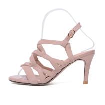 Arden Furtado summer 2019 fashion trend women's shoes stilettos heels pure color pink concise buckle sandals classics narrow band