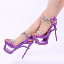 2018 summer high heels 16cm stilettos platform shoes for woman tassels purple strange style ladies sandals crystal flowersUgly shoes
