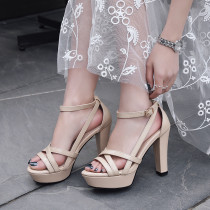 2019 summer chunky heels platform women's shoes genuine leather sandals brown shoes ladies
