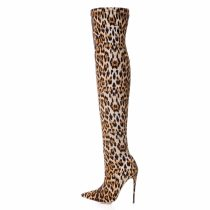 sexy over the knee boots shoes for woman ladies stilettos Leopard boots big size Stretch boots high heels 12cm