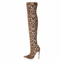 sexy over the knee boots shoes for woman ladies stilettos heels Leopard boots big size Stretch boots high heels 12cm