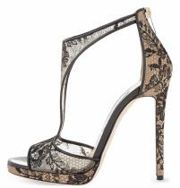 summer high heels stilettos lace sexy platform peep toe fashion T-strap sandals shoes for woman ladies